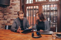 Business people working with new startup project royalty free stock photos