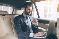 Young business person drinking coffee Royalty Free Stock Photos