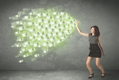 Young business person throwing money concept Stock Images
