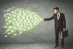 Young business person throwing money concept Royalty Free Stock Photos