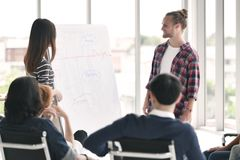 Young business persons discussing and presenting. Work to group of colleagues at office Royalty Free Stock Images