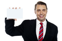 Young business representative holding placard Stock Photography