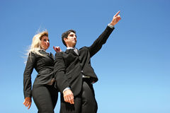Young business team. Young successful businessman and businesswoman Royalty Free Stock Photo