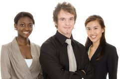 Young Business Team. Three young attractive individuals make a diverse business team Royalty Free Stock Images