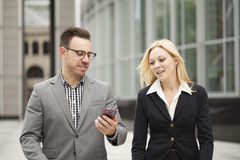 Young business team on phone Royalty Free Stock Photo