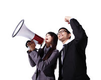 Young business team shouting Stock Image