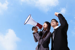 Young business team shouting Royalty Free Stock Photos