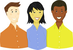Young Business Team or Students. Three young people, perhaps a business team, or high school or college students. They represent ethnic diversity for various Vector Illustration