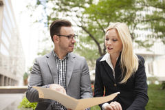 Young business team with woman in charge Stock Photography