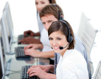 Young business team working in a call center Stock Photography