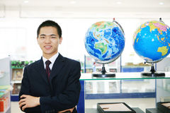 Young business with tellurion Royalty Free Stock Photo