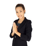 Young business with Thai paying respect posture Stock Photography