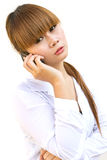 Young business woman. Holding the phone Stock Photo