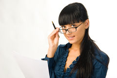 Young business woman. Young attractive business woman with documents royalty free stock photos