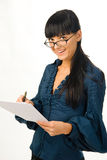 Young business woman. Young attractive business woman with documents Stock Photography