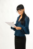Young business woman. Young attractive business woman with documents Stock Photo