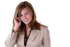 Young Business Woman. Attractive Young Businesswoman Talking On A Cell/Mobile Phone Royalty Free Stock Image
