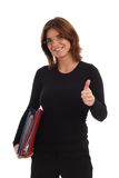 Young business woman. Portrait of a young business woman holding thumb up Royalty Free Stock Image