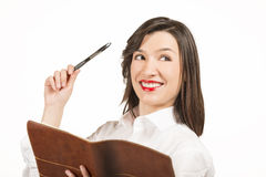 Young business woman with agenda Royalty Free Stock Image