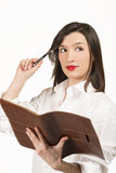 Young business woman with agenda Royalty Free Stock Photography