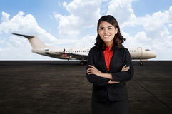 Young Business Woman At The Airport Stock Photography