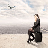 Young business woman at the airport Royalty Free Stock Photo
