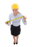 Young business woman, architect or designer in builder helmet wi Royalty Free Stock Photography