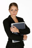 Young Business Woman with Arms Folder Around Laptop Stock Images