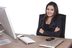 Young business woman attractive laptop working on  Stock Photography