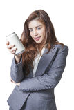 Young business woman attractive presenting a can of soft drink Royalty Free Stock Photos