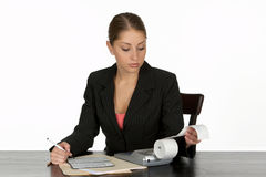 Young Business Woman Balancing Checkbook Royalty Free Stock Image