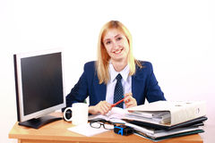 Young Business Woman Behind Desk Royalty Free Stock Photos