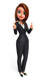 Young Business Woman with best luck sign Royalty Free Stock Photography