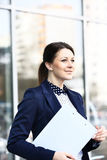 Young business woman in the big city Stock Image