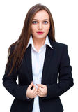 Young business woman in black business suit, isolated over white Stock Image