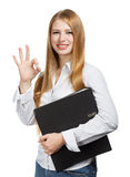 Young business woman with black folder on white background Royalty Free Stock Image