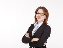 Young business woman in black suit and glasses Royalty Free Stock Image