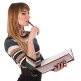 Young business woman with a book Stock Photography
