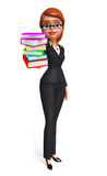 Young Business Woman with books pile Royalty Free Stock Photos