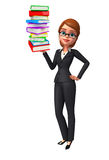Young Business Woman with books pile Stock Image