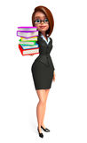 Young Business Woman with books pile Royalty Free Stock Image