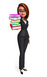 Young Business Woman with books pile Stock Photo