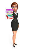 Young Business Woman with books pile Royalty Free Stock Images