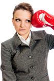 Young Business woman boxing punch Royalty Free Stock Image