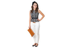 Young business woman with brown purse Royalty Free Stock Images