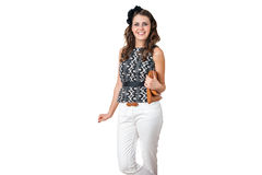 Young business woman with brown purse Stock Photo