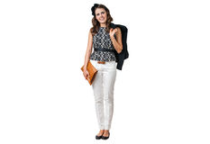 Young business woman with brown purse Stock Photos