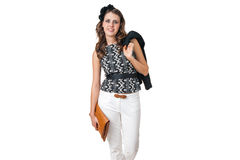 Young business woman with brown purse Royalty Free Stock Photography