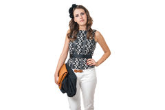 Young business woman with brown purse Royalty Free Stock Photos