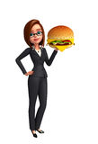 Young Business Woman with burger Royalty Free Stock Images